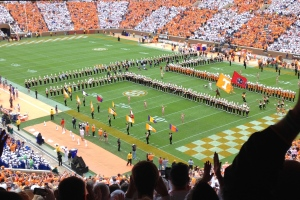 Neyland Stadium as an orange and white checkboard for the UT v FL game