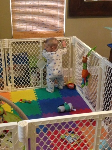 "Eli pulling himself up in ""baby jail"""