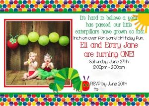 HGC 201 Twin Invite -Eli and Emry Jane 5x7